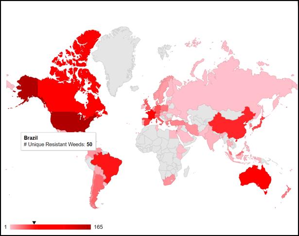 manejo de plantas daninhas - gráfico informa o número de diferentes plantas resistentes a herbicidas por país