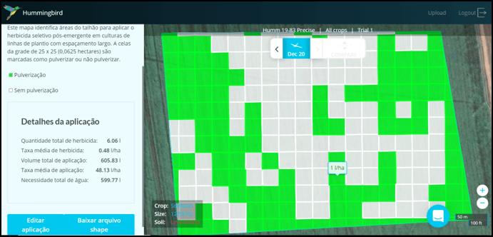manejo de plantas daninhas - Mapa de aplicação de taxa variável de herbicida em um talhão com capim-amargoso (Digitaria insularis), buva (Conyza canadensis) e milho voluntário (Zea mays)