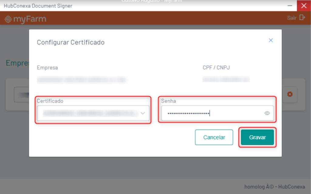 Tela de configuração do certificado digital A3.