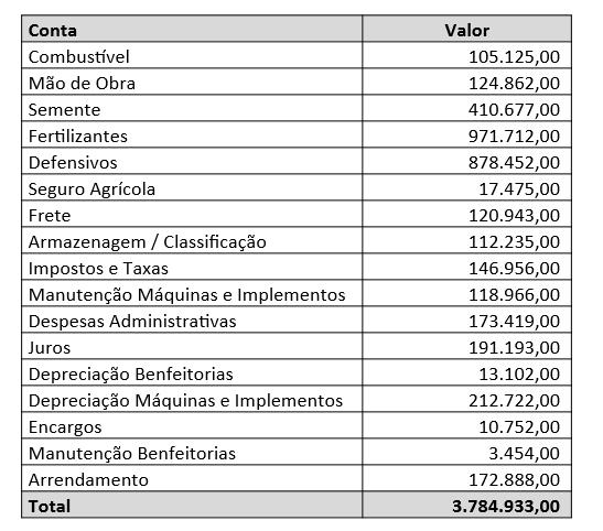rateio de custos - custo total de produção