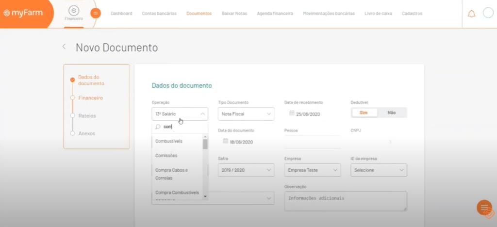 tela Dados do documento no Myfarm - notas fiscais do produtor rural