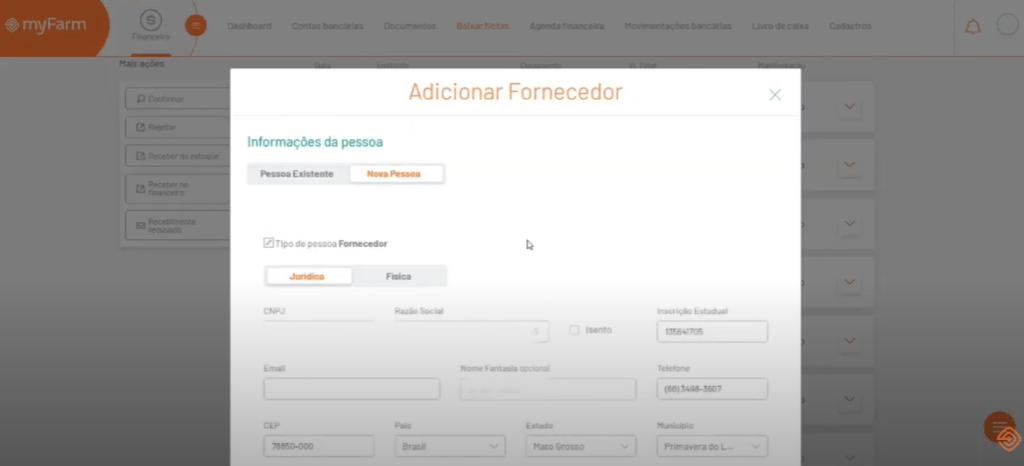 Adicionar fornecedor - MyFarm