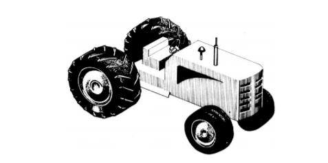 Esquema de um trator de quatro rodas