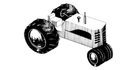 Esquema de um trator de três rodas