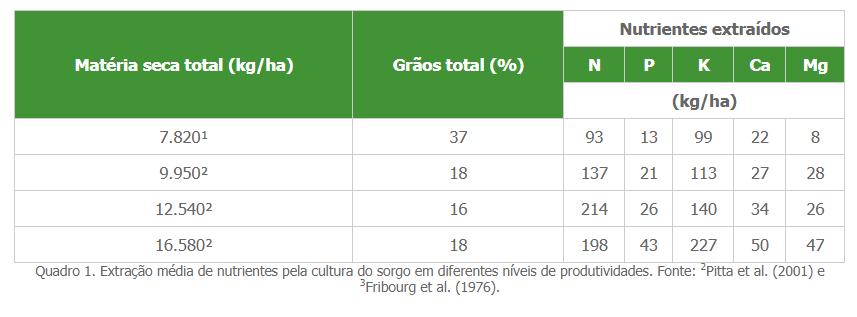 Extração média de nutrientes pela cultura do sorgo