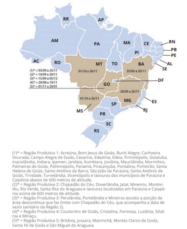 Mapa do período de vazio sanitário  no Mato Grosso, Goiás, Mato Grosso do Sul, Minas Gerais e Bahia.
