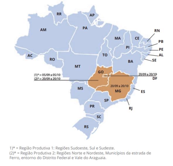 Período do vazio sanitário nos estados de Minas Gerais, Goiás e Distrito Federal